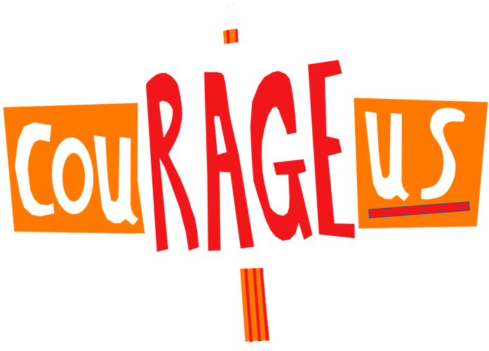 Courageous logo, three protest banners which spell out cou rage us